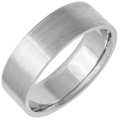 (Platinum Traditional Top Flat Women's Comfort Fit Wedding Band (7mm) Size-5.5c1)