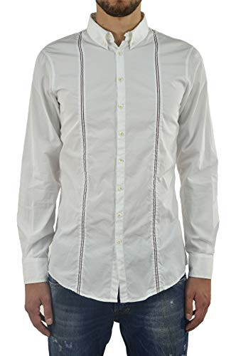 DSQUARED2 Shirt White with Braces and Leather Tag D2 Men - Size: 46 - Color: White - New