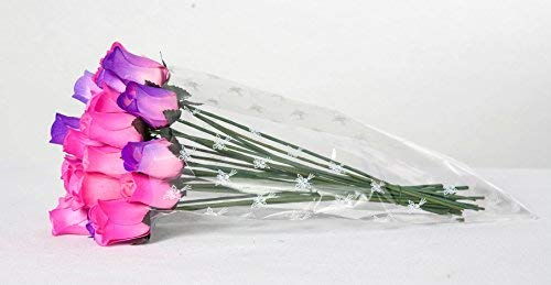 24 Wood Roses Hot Pink and Purple Rose Buds