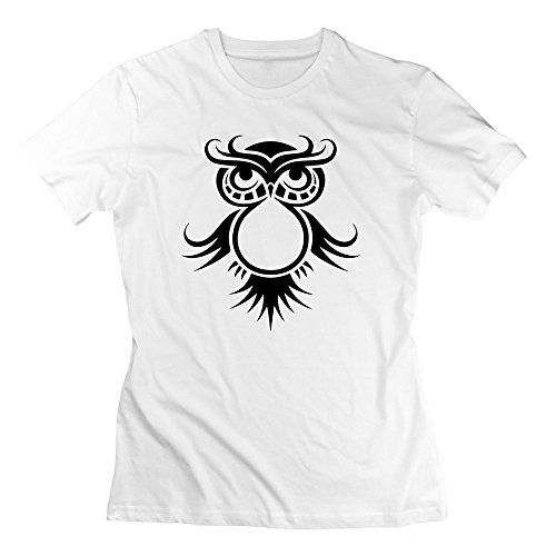 (Black Cute Owl Artistic Drawing Vintage Women's T-Shirt)