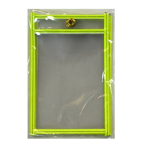 "UPC 038944404707, C-Line Stitched Shop Ticket Holders, Both Sides Clear, 4"" x 6"", 5 per Pack, Neon Yellow (40470)"