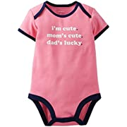 Carters Baby Clothing Outfit Girls Short Sleeve Bodysuit Pink - I'm Cute 24M