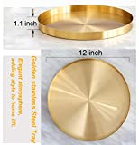 Decorative Round Tray Plate, Gold Jewelry