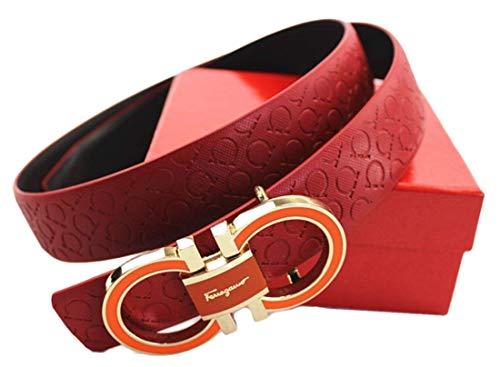 Salvatore Ferragamo Adjustable Belt Red with Gold Buckle