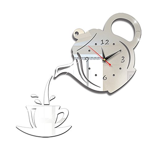 (BB.er Creative Teapot Teacup Mirror Wall Sticker Wall Clock diy3d Three-dimensional acrylic decorative digital clock, 40×40cm)