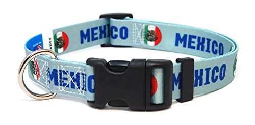 PatriaPet Dog Collar with Mexico Soccer Design | Great for National Holidays, Special Events, Festivals, Independence Days and Every Day Strong Safe USA Made | XSmall Small Medium Large