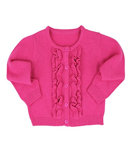 RuffleButts Baby/Toddler Girls Candy Ruffled Cardigan - - Fuchsia Candy