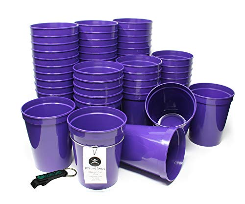 Rolling Sands 16 Ounce Reusable Plastic Stadium Cups Purple, Bulk 50 Pack, Made in USA, BPA-Free Dishwasher Safe Plastic Tumblers and Bottle Opener