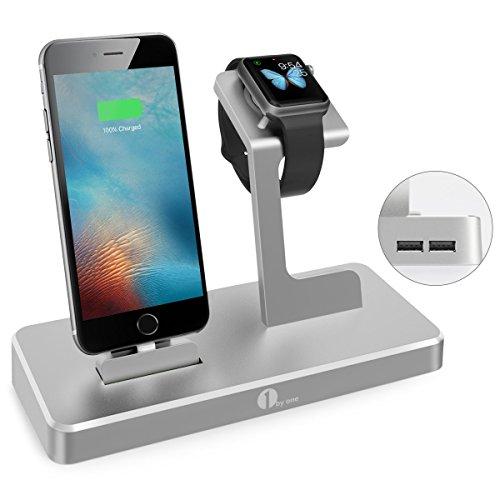1byone Apple Watch Ladeständer, 3 in 1 Ladestation für iWatch, iPad und iPhone mit 2 USB Ports, Apple MFI zertifizierte Strom Station in Alulegierung, Grau