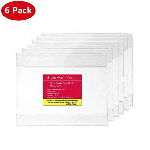 Display4top 6 Pack of Wall Mount Portrait Clear Acrylic Sign Holders with Adhesive (11 X 8.5'') (8.5 X 11 Adhesive)