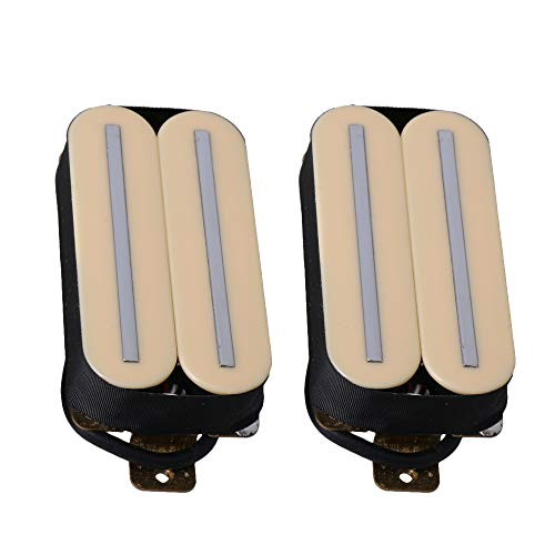 Lovermusic Electric Guitar Parts H11-1V-CR Dual Rail Double Coil Humbucker Pickup Set Beige Pack of 2 ()