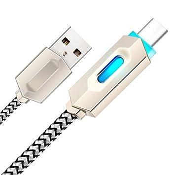 YANSHG® USB tipo c cable LED trenzado de carga rápida de ...