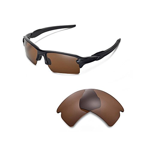 Walleva Replacement Lenses for Oakley Flak 2.0 XL Sunglasses - Multiple Options Available (Brown - Polarized)