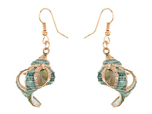 Alilang Womens Multicolor Golden Accent Ocean Seashell Couch Mermaid Sea Witch Drop Dangle Earrings