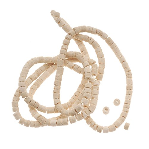 Puka Shell Beads (Pale Wood Coconut Shell Rondelle Tube Beads - 3mm Wide 23 Inch Strand)