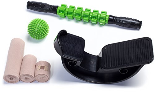 (Calf Stretcher, Massage Roller Stick, Spiky Massage Ball & Compression Wrap Set | FiZiO All-in-One Leg, Ankle, Foot Care Kit Includes Foot Rocker, Muscle Roller, Trigger Point Ball, 3 Latex Free Wraps)
