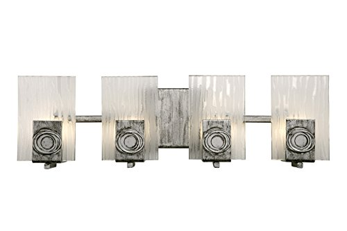 Chandelier Recycled Glass (Varaluz 182B04 Polar 4-Light Vanity - Blackened Silver Finish with Ice Crystal Recycled Glass)