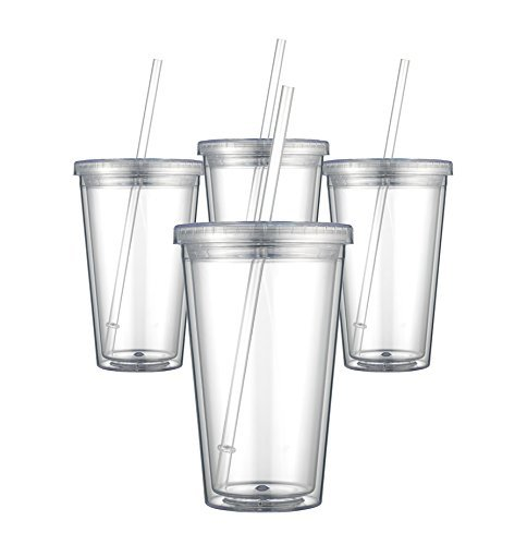 Maars Classic Insulated Tumblers 16 oz. | Double Wall Acrylic | 4 (Clear Cup)
