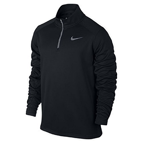 Nike Mens KO Quarter-Zip Training Shirt Black/Grey 717397-011 (Nike Mens Therma Long Sleeve Quarter Zip Shirt)