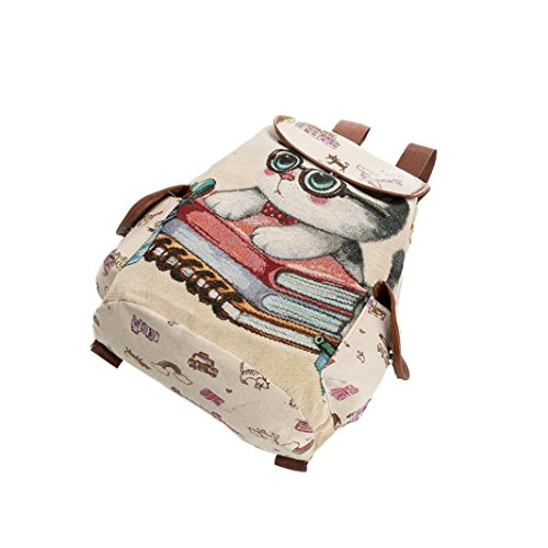 Cat C canvas Women's jacquard love shoulder printed cute bag backpack embroidered GINELO rIPPgdq