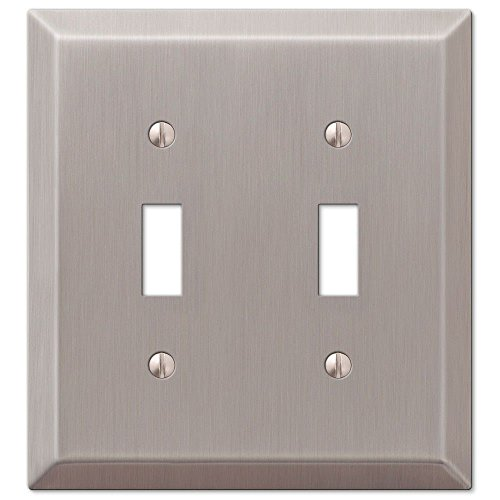 Double Satin Switch Nickel (Double Toggle 2-Gang Decora Wall Switch Plate, Satin Nickel)