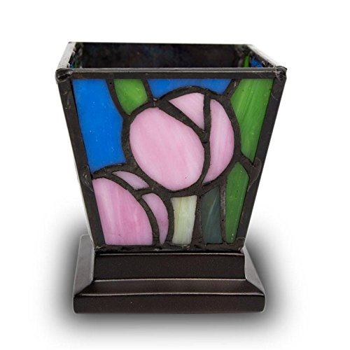 Tulip Stained Glass Pink Tulip Cremation Keepsake Candle Holder - Extra Small Multi Memorials Keepsake for Ashes - Custom Engraving Included