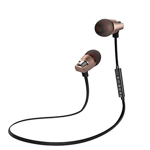 Bluetooth Headphones, Sports Wireless Earbuds with Microphones, Olatec Mini Sweatproof earphones is Secure and Fit for Running(Black+Gold) (Sale Phone Day 1 Number)