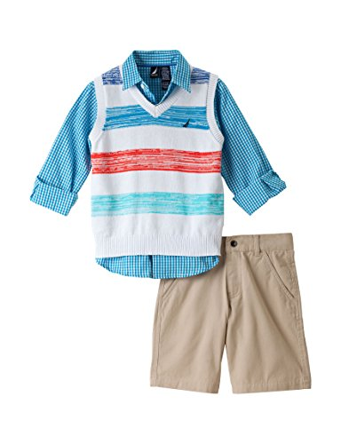 Nautica Toddler Boy's 3pc Sweater Vest/ Short Set, Light Red (3T)