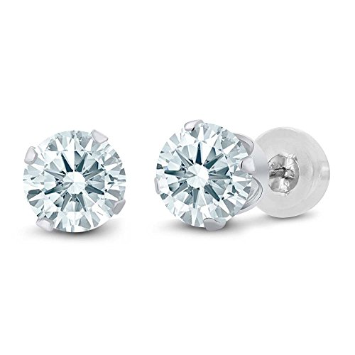 10k White Gold Stud Earrings Made With Swarovski Zirconia (Solid Gold Ear Care)
