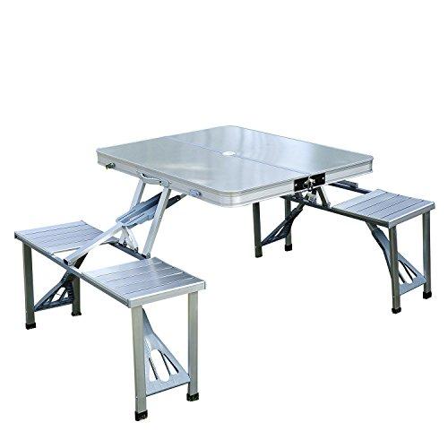 Outsunny Mesa Plegable 4 Asientos Aluminio con Agujero para Sombrilla para Camping Playa Picnic Exterior 136×85,5×66 cm