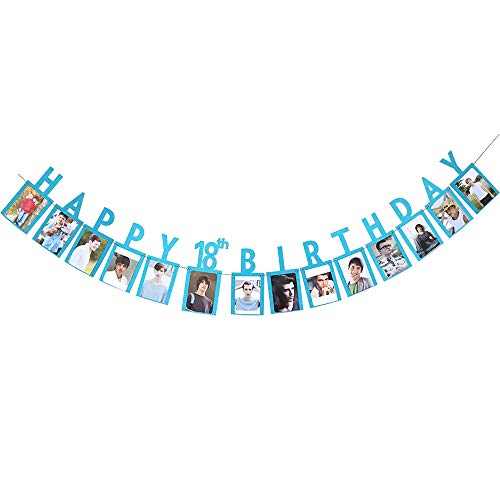 Happy 18th Birthday Sweet Eighteen 16 Years Photo Banner Blue Foiled for 18th Birthday Decoration Picture -