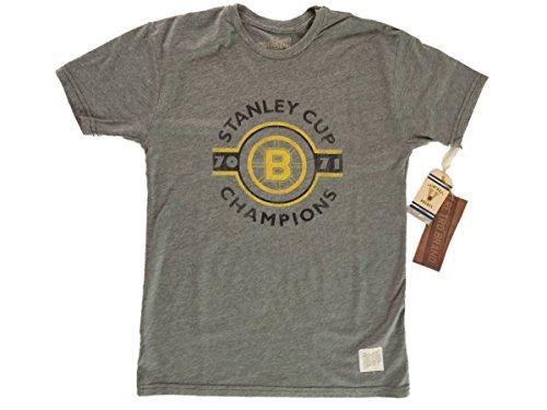 Boston Bruins Retro Brand 1970-1971 Stanley Cup Champions Gray T-Shirt (2XL)