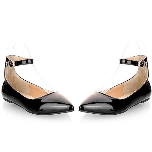 Negro punta Sexy Mujeres Ocio Loafers Casual Toe Pisos zapatos Primavera Señoras longfengma 4Pqpt