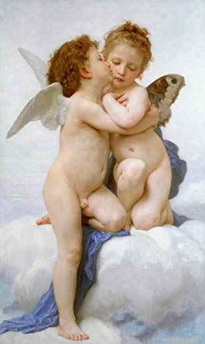Berkin Arts William Adolphe Bouguereau Giclee Canvas Print Paintings Poster Reproduction(First Kiss) #XFB