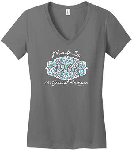 s Cards 50th Birthday Gift Made 1968 Paisley Crest Juniors Vneck 2XL Grey ()