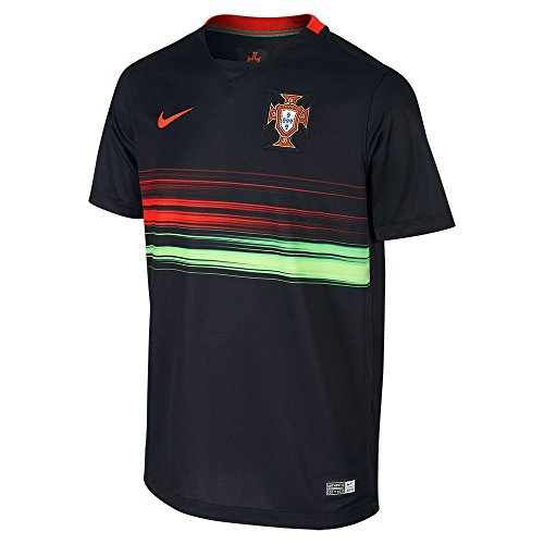 Nike Portugal Kids Away Stadium Soccer Jersey (Black, Red, Green) (Youth Medium) (Portugal Away Shirt)