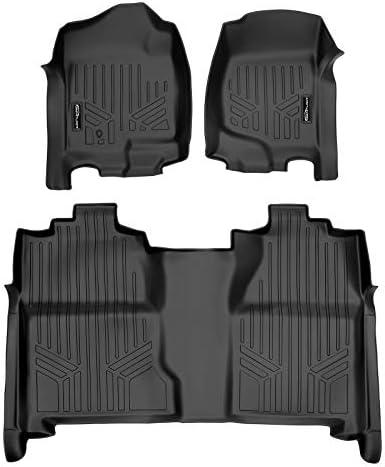 MAXLINER Floor Mats 2 Row Liner Set Black for 2007-2013 Silverado/Sierra 1500 Crew Cab – 2007-2014 2500/3500 HD Crew Cab
