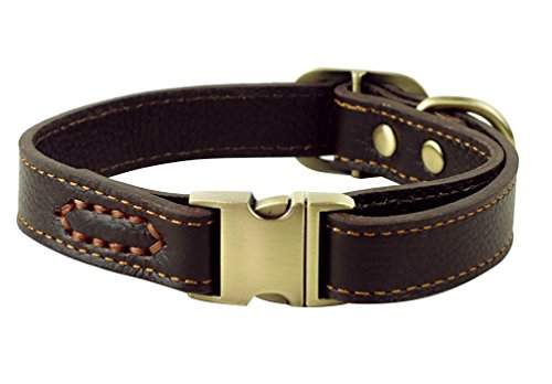 JIngwy All Natural Real Leather Collar for Dog/Pet 3 Sizes Available Suit for Small Medium and Large size Dog/Pet 2 Colors Brown and Black (M, Brown) by JIngwy