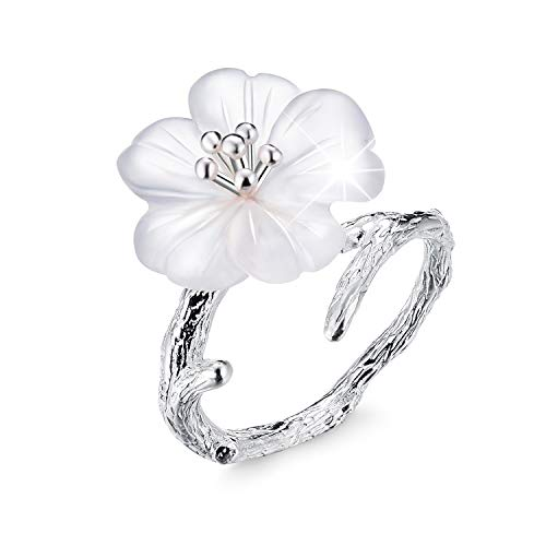 Lotus Fun S925 Sterling Silver Rings Flower in The Rain Open Crystal Ring Handmade Jewelry Unique Gift for Women and Girls (Silver)