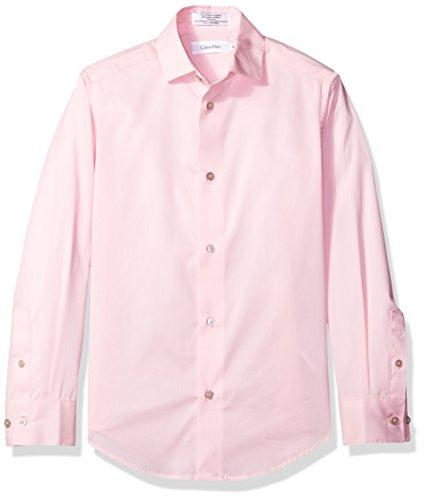 Calvin Klein Big Boys' Long Sleeve Solid Stretch Poplin Shirt, Light Pink, 18