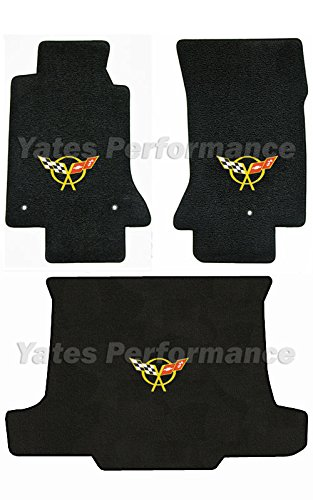 (C5 Corvette Convertible Black 3pc Floor & Rear Cargo Mats - Crossed Flags Logo in Yellow)