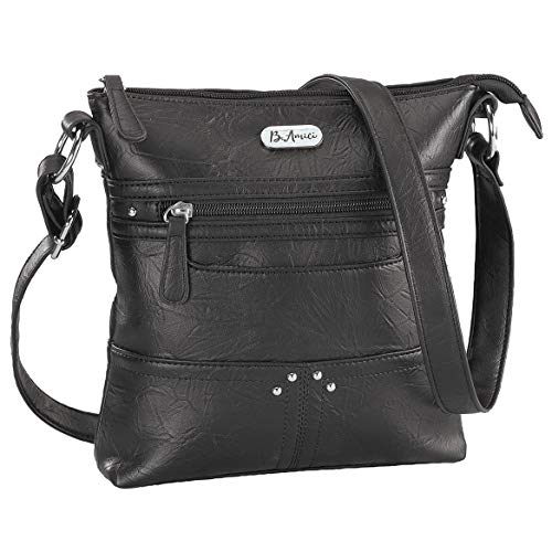 B.Amici Francesca RFID Lockport Crossbody Bag, RFID Lining, Adjustable Straps, Black