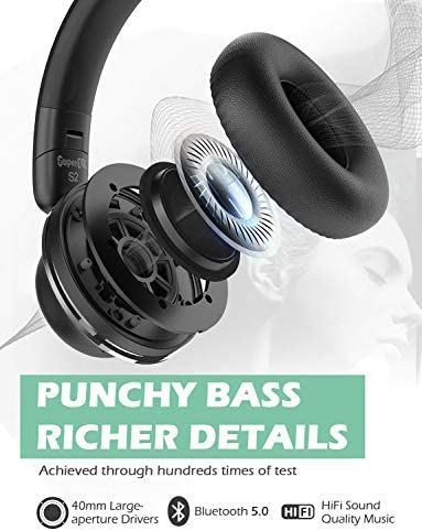 Active Noise Cancelling Headphones-SuperEQ S2 Bluetooth On Ear Headphones with CVC 8.0 Mic, Deep Bass, 25H Playtime, 40mm Drivers, Memory Foam Ear Cups for Travel Online Class Office (Black) 41CUOAwiIfL