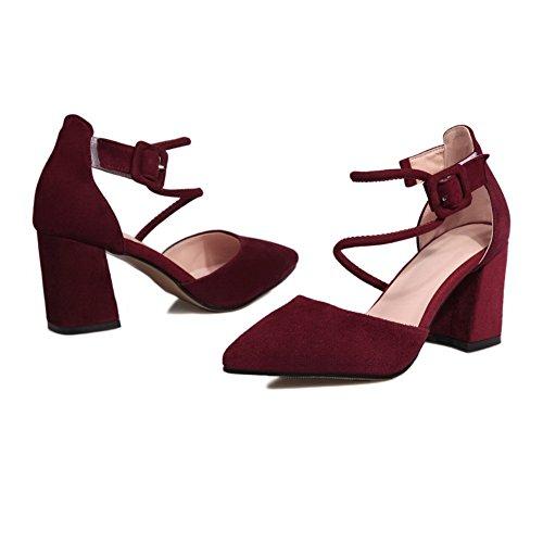 AdeeSu Womens Bandage Square Heels Chunky Heels Buckle Urethane Sandals SLC03257 Red vKT7ELH7O