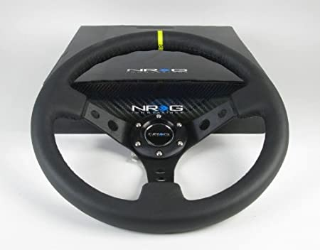 ST-006BK-Y NRG Innovations 350mm 3 Inches Deep Dish 6 Hole Racing Steering Wheel Black Leather Yellow Pointer with Horn Button ST-006BK-Y