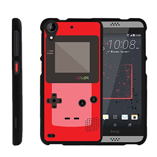MINITURTLE Case Compatible w/ [HTC Desire 530 Slim Case, Desire 630 Case, 530 Case][Snap Shell] Hard Plastic Slim Fitted Snap on case w/ Unique Designs Red Gameboy ()