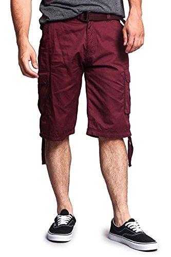 G-style USA Men's Ripstop Belted Cargo Shorts 9AP30 - SOLID BURGUNDY - 36 - S7B (Man Mini Fridge)