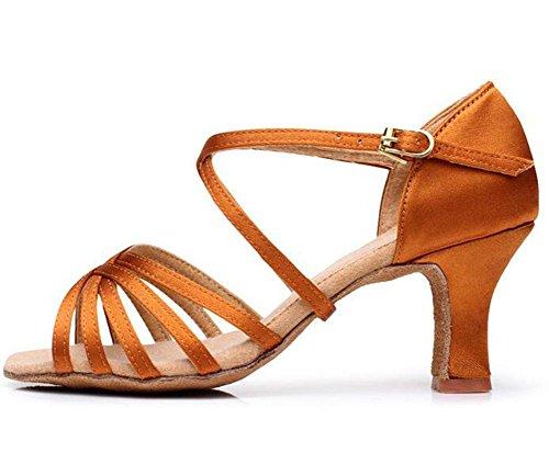 KUKI Señoras adultas con zapatos de baile latino de tacón alto, zapatos latinos de fondo blando de mujer de color satinado 4