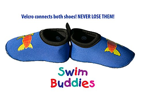 Swim Buddies Baby Swim Shoes - The BEST WATER SHOES for Beach, Pool, Lake - Toddler Aqua Socks - Lightweight & Durable Swimming Shoes (Blue, S (6-12 months, sole length 4.5 inches))