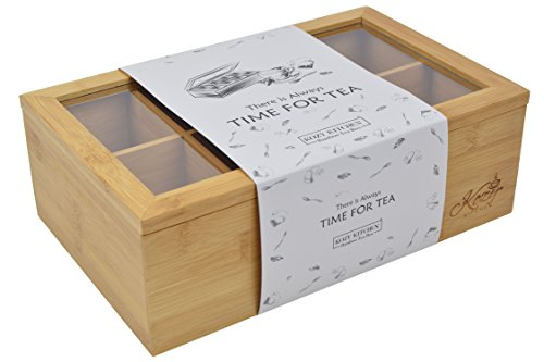 183 & Kozy Kitchen Tea Box Storage Organizer with BONUS Cotton Shopping Bag| Large 8-Storage Compartments and Clear Shatterproof Hinged Lid Tea ...